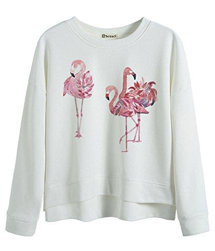 So'each Women's Three Flamingos Love Graphic Batwing Sweatshirt Pullover Tops (Indian-leggings Für Frauen)
