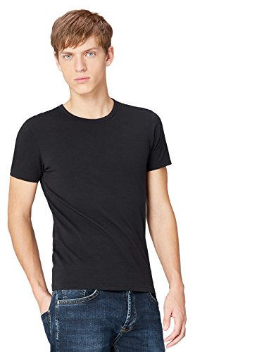 FIND Essential Round Collar, Camiseta de Manga Corta Clásica Hombre, Negro (Black X2), Medium