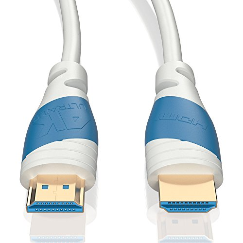 5m | HDMI-Kabel 2.0 a/b Weiß | 4K Ultra HD 2160p / Full HD 1080p | 3D / ARC / CEC | Ethernet | TV | PC/ Notebook | von JAMEGA