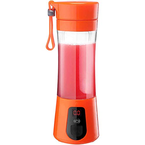 HONG USB Electric Juicer, Flasche Automatischer Fruchteis Mixer Cup Power Display Mixer- Mini-Reisesaftmixer Wiederaufladbar -500Ml 4 Klingen Power Bank Funktion,Orange - Power Mixer-cup