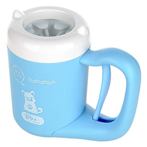 VIGE Hund Pfotenreiniger Tragbares Haustier Fußwaschgerät Waschbecher Komfortable Silikonhunde Katzen Reinigungsmittel-Blau