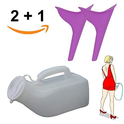 Erlove 2 Stück Frauen tragbare Urinal Trichter Gerät und 1 männlichen Urinal, WC-Gerät für Camping Reisen
