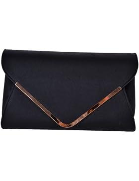 Damen Clutch Abendtasche Damentasche Handtasche Tasche in elegantem Design Schulterriemen Magnetverschluss Schwarz