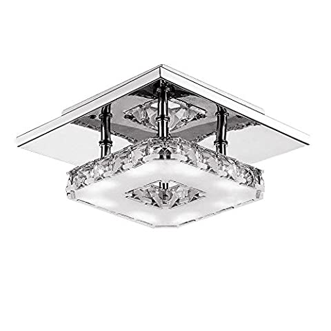 12W LED Ceiling Light Modern Flush Mount Crystal Ceiling Lamp Fitting, Stainless Steel Chandelier Ceiling Lights for Hallway, Aisle, Porch, Bedroom with 3000-4500K Color Temperature , Warm White