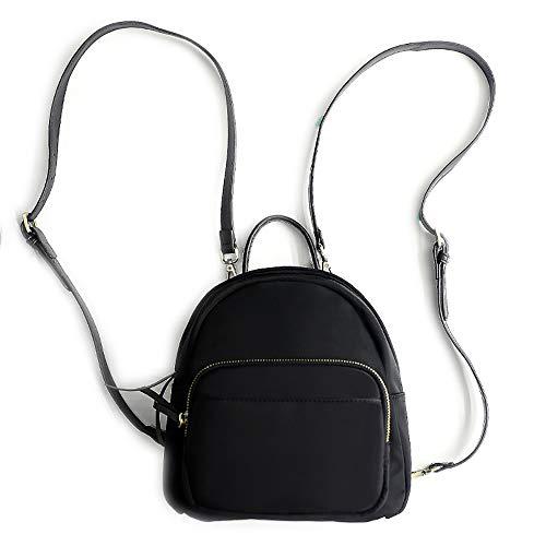 Damen Mini Fashion Rucksack Schultertaschen, Multifunktions Tagesrucksack Schulranzen Umhängetasche Einfaches trendiges Design, Schwarz