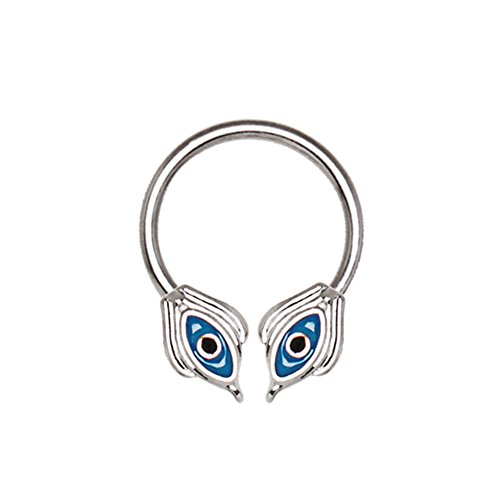 Ägyptisch Blau Double Eye Black Crystal 1,2 mm x 10 mm Chirurgenstahl Welle HorseShoe Universal-Schmuck