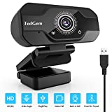 TedGem Webcam, Full HD 4K/1080P Laptop Webcam mit Mikrofon USB Webcam Kamera Streaming Webcam für Videoanrufe und Aufnahme, Gaming, klein/flexibel/einstellbar, unterstützt Windows, Android, Linux