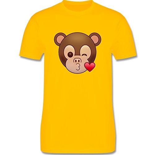 Comic Shirts - Küsschen Äffchen Emoji - Herren Premium T-Shirt Gelb