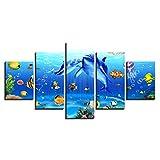 5 Panel Druck auf leinwand Unterwasserwelt Delphin Riff Fische Pop Art Gemälde Kunstdrucke Wandbilder Bilder zur Dekoration - Schlafzimmer Wohnzimmer Flur Kinderzimmer Deko 150 x 80 cm (Rahmenlos)