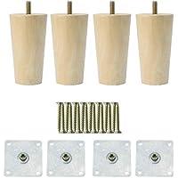 Sourcingmap - Juego de 4 patas de madera maciza redondas para muebles, sillas, mesas, armarios, armarios, muebles, muebles y muebles de 6 pulgadas
