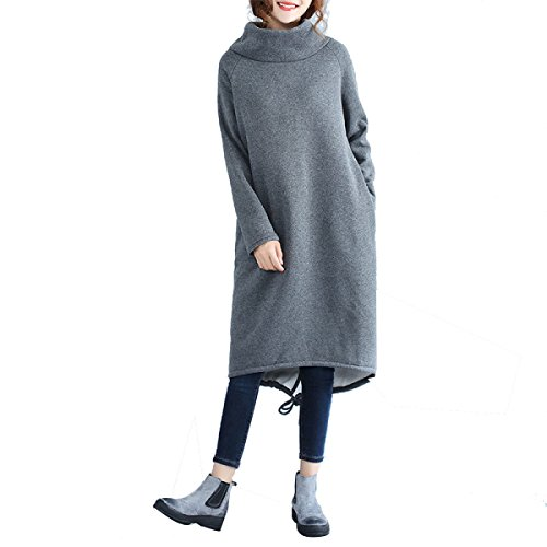 Cappotto Con Cappuccio Da Donna Cappotto In Pile Caldo Capispalla Felpe Con Cappuccio Casual Giacca Lunga Plus Grey