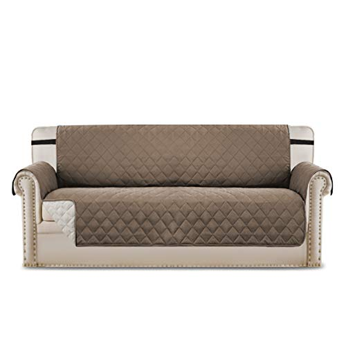 BellaHills Sofa Protect Sofa Cover from Pets Three Seater 110'' x 75''/ Reversible Quilted Furniture Protector, Microfiber Sofa Chair Protector in Taupe Brown/Beige