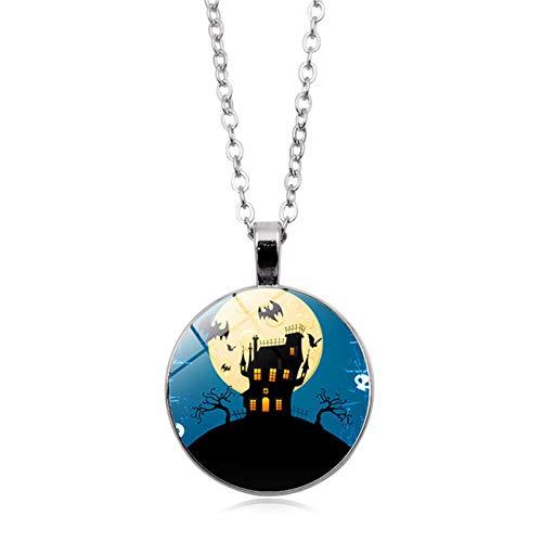 Blisfille Happy Halloween Zeit Edelstein Halskette Anhänger Halskette Festival Herren Damen Geschenk