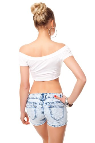 Miss RJ Jeans Hotpants Moon Wash Vintage Look Deko Nähte Blau