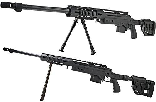 Vollmetall Sniper Federdruck schwarz Softair-Gewehr XXL Set inkl. Speedloader, Dreibein, Tragegurt ca. 98 cm - 128,5 cm ca. 4130 g unter 0,5 Joule ab 14 Jahre (Airsoft Guns Elektrische Metall)