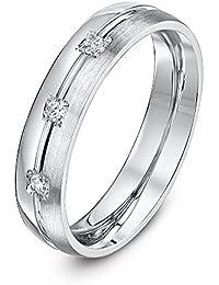 Theia 9ct White Gold, His & Hers Round Trilogy Diamond Prong Set Wedding Ring