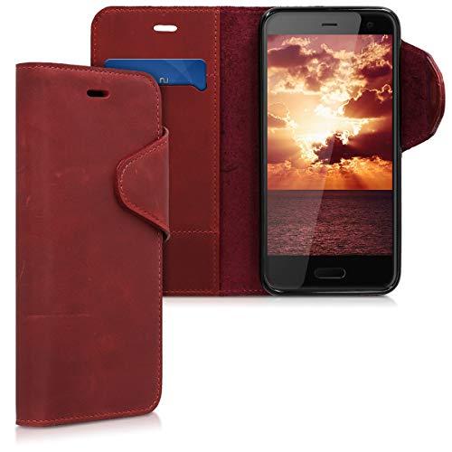 kalibri HTC U11 Life Hülle - Leder Handyhülle für HTC U11 Life - Handy Wallet Case Cover