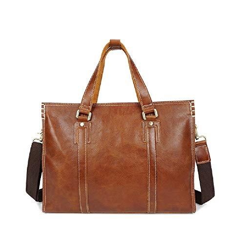 Preisvergleich Produktbild XWH Erste Schicht Rindsleder-Handtasche, einfarbige Umhängetasche aus Leder mit 1 Schulter, Computer-Ledertasche, Aktentasche für Männer,Braun,17 Zoll