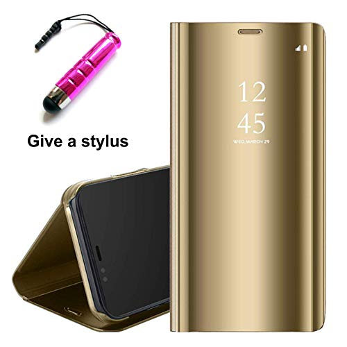 Tianyan Funda Xiaomi Redmi Note 7 Pro,Inteligente Espejo Clear View Flip Cover Carcasa Plegable Soporte Funda para Xiaomi Redmi Note 7 / Redmi Note 7 Pro,Dorado