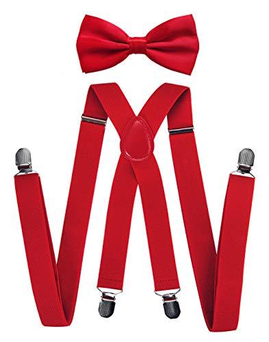 axy Hochwertige Herren Hosenträger mit Fliege - 4 Starken Clips X-Form (Rot (Hosenträger Breit 2,5cm))