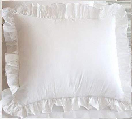 Euro-square-kissen (2 weiße Rüschen Kissenbezüge, luxuriös, Fadenzahl 550, 100% ägyptische Baumwolle, dekorativer Kissenbezug in Euro-Größe, 2 Stück European/Euro/Euro Square 24''x24'' White Solid)