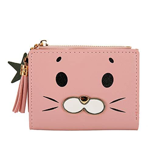 84 Mini-anhänger (SUNSKYOO Cat Wallet PU Leder Cartoon Tierknöpfe Quaste Stern Anhänger Münzfach Kartenfächer Mini Wallet, Hellrosa)