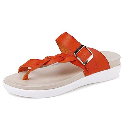Minetom Damen Sommer Atmungsaktiv Flechten Sandalen T-Strap Slippers Flip Flops Rutschfest Flache Schuhe Zehentrenner Strand Orange