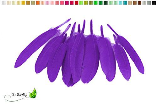 10 Indianerfedern 10-16cm ( lila / purpur 465 ) // Dekofedern Bastelfedern Masken Federn Schmuckfedern Vogelfedern Verschiedene Vogelfedern