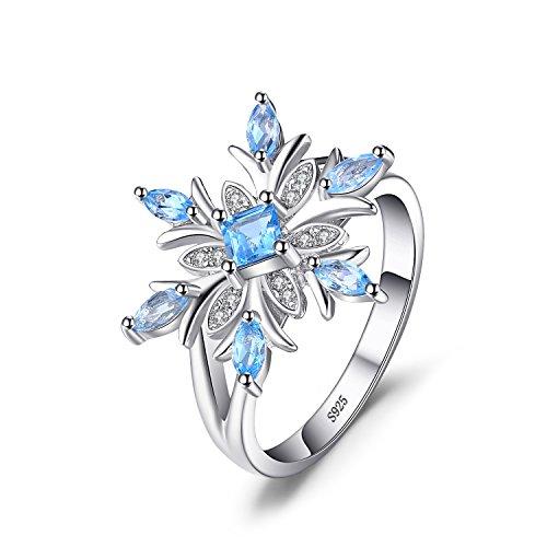 flocke Echtes Schweizer Blau Topas Ring Verlobungsring 925 Sterling Silber (Schneeflocke Ringe)