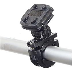 KRS–Bike Mount Soporte Soporte para motocicleta moto E-Bike Sistema de soporte de bicicleta Incluye Quick-Fix 4QF y anilla de seguridad de silicona m. Rosca y sujeción para barra de manillar para de para Teasi one, Teasi one 2, Teasi one 3, Teasi Pro y Smar.T Power, blanco, HF3+