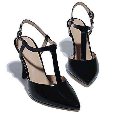 Beauqueen Mules Pompe casuale del lavoro sandali T-Strap caviglia con tacco medio Elegante Bianco Nero Europa formato 34-39 Black