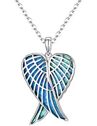 EVER FAITH 925 Sterling Silver Blue Opal Gemstone Angel Wings Heart Pendant Necklace for Girls, Brides