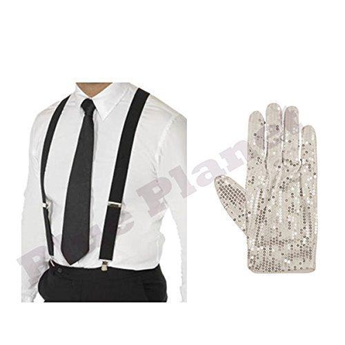 Michael Jean Jackson Kostüm Billie - Erwachsene Herren Michael Jackson Billie Jeans Pailletten Handschuh, Hosenträger & Krawatte Kostüm - Schwarz, one size
