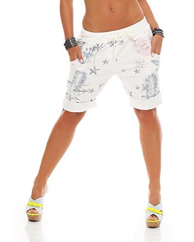 Zarmexx Damen Bermuda Shorts Baggy Hose Boyfriend Freizeithose Haremshose Sporthose mit Blumendruck Baumwolle One Size (Einheitsgröße: Gr. 36-40, Weiss)