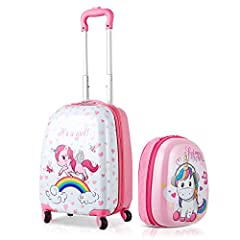 Idea Regalo - GOPLUS 2 in 1 Valigetta bimbo Trolley bambino Piccolo Bagaglio di Viaggio Carino Valigetta+Zaino (Unicorno)