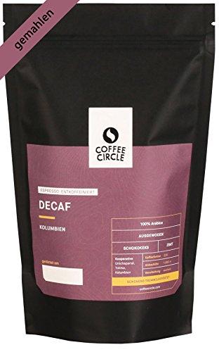 Coffee Circle | Premium Espresso Decaf | 350g gemahlen | Entkoffeinierter Espresso mit süßlicher...