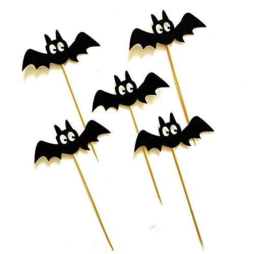 Für Cupcake Mädchen Frauen Erwachsene Kostüm - WSJDE 5 Schwarze Fledermäuse für Halloween-Cupcake-Dekoration für Kindergeburtstag, Kuchen-Dekoration, Halloween-Zubehör