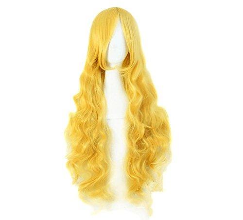 FAI Mode Schöne Lange gewellte lockige Perücke Gelb Mittlere Abstechen Voll Perücken Synthetik Hitzebeständiges Haar für Frauen Halloween Cosplay Party Fancy Dress