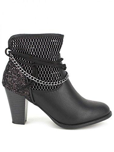 Cendriyon, Bottine Noire ANGELINE Simili Cuir Chaussures Femme Noir