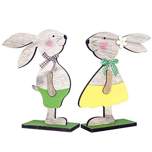 BESTOYARD Coniglio di Pasqua in Legno Ornamento Coniglietti Artigianato 2pcs