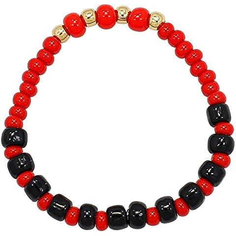 Elastico regolabile con perle neonati protezione occhio malvagio-Bracciale placcato oro 14 k
