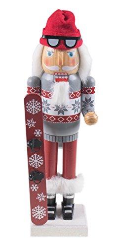 Clever Creations - Schiaccianoci Classico Babbo Natale Snowboarder - da Collezione - con Stivali, Maschera Protettiva e Snowboard - 100% Legno - 35,5 cm