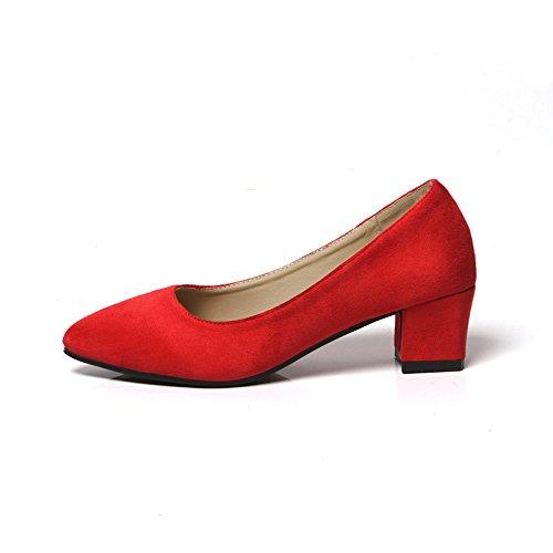 FLYRCX Testa ribassata e camoscio rosa nero moda nero moda e scarpe da lavoro per donna festa del sesso scarpe tacchi alti C