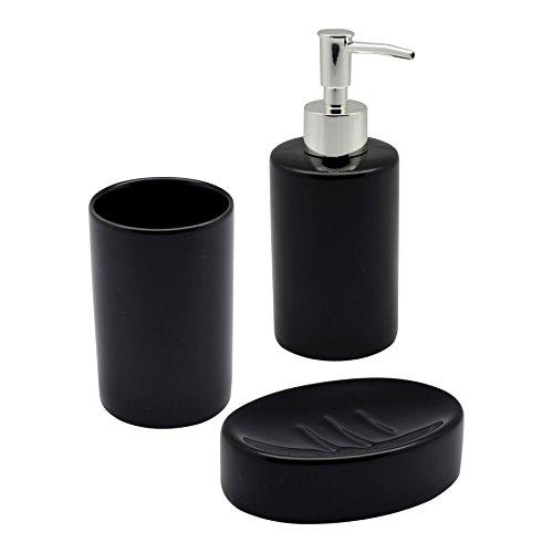 3-teiliges Badezimmer-Set aus Keramik - glasiert - Mit Seifenspender, Seifenschale und Zahnbürstenhalter - Schwarz