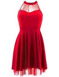 Netgozio Mini Abito Donna Vestito Corto Miniabito Sexy Elegante Trasparente  Vestitino (Rosso 08df0936379