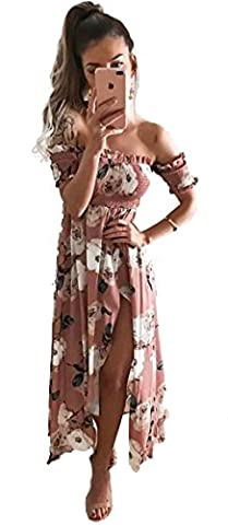 Longwu Women's Off shoulder Elastic Printed Pleats Slim Irregular Cropped Dress Pink-L