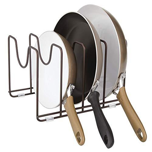 mDesign Soporte para sartenes, ollas y Tapas - Organizador de tapaderas Compacto de Metal para armarios de Cocina - Accesorios de Cocina para Ahorrar Espacio de almacenaje - Color Bronce