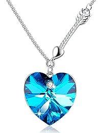 """Angelady """""""" Cupid """""""" Herzform Anhänger Halskette für Verlobung Hochzeitsgeschenke mit Kristall von Swarovski"""