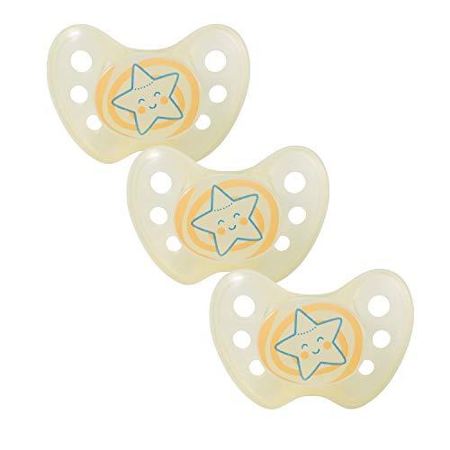 Dentistar® Night Silikon-Schnuller - Größe 2, 6-14 Monate - Nacht-Leuchtschnuller, Nuckel leuchtend, Zahnfreundlich - Stern, gelb
