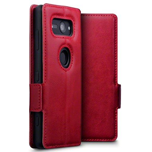 TERRAPIN, Kompatibel mit Sony Xperia XZ2 Compact Hülle, ECHT Leder Börsen Tasche - Ultra Slim Fit - Betrachtungsstand - Kartenschlitze - Rot